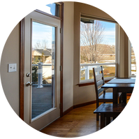Glass door and large window lookout in dining room